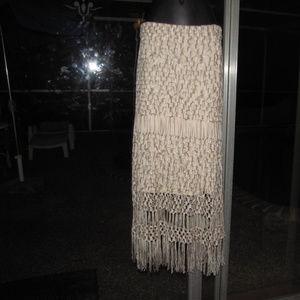 BNWT crochet fringe festival maxi skirt tube dress